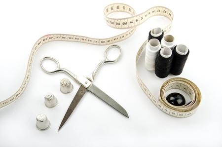haberdashery: sewing objects on white background Stock Photo