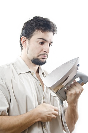 clumsiness: Single man troubles Stock Photo