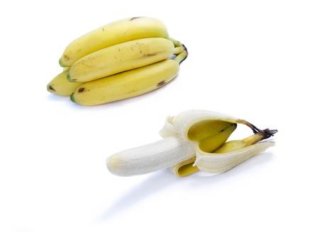 peeled banana: Isolated peeled banana Stock Photo