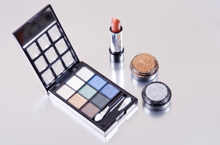 Makeup kit on silver photo