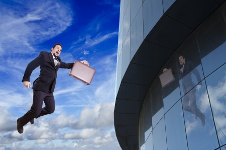 ascend: businessman ascend and rise position