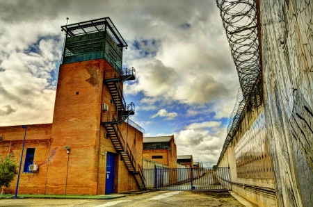 concertina: HDR Prison and barbed wire Stock Photo