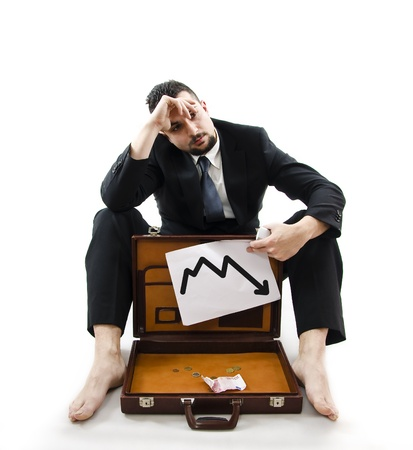 destitution: Poor businessman, crisis consecuences