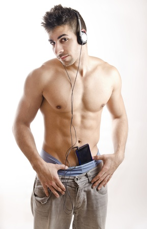 man underwear: hard boy and smart phone. Stock Photo
