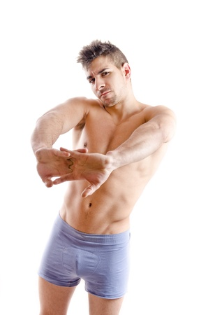 pectorals: Strong man stretching hands Stock Photo