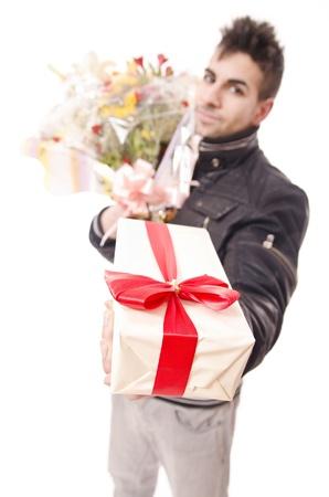 anniversary sexy: Take a gift Stock Photo