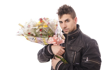 anniversary sexy: Bouquet of flowers and young man Stock Photo
