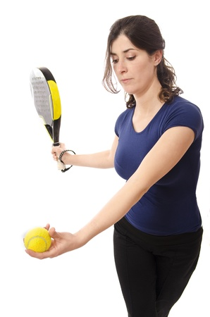 Paddle tennis serve and woman  photo