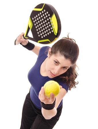 jugando tenis: Paddle servir Foto de archivo