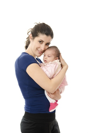 dia de la madre: Casual mother and her little newborn  Stock Photo