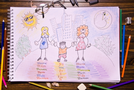 dia de la madre: Different family  Children draw