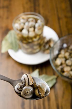 mediterrane k�che: Bouillon Schnecken auf Holz Tisch, mediterrane K�che Lizenzfreie Bilder