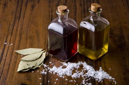 vinegar bottle: Mediterranean still life