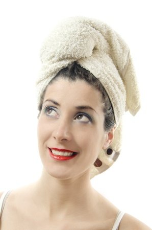 towel on her head, over white  photo
