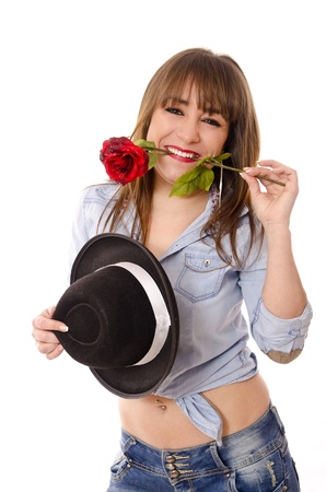 Rose and hat style photo