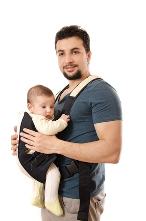baby carrier: Father and little baby isolated on white