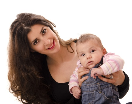fraternal: dark haired Mom and little baby Stock Photo