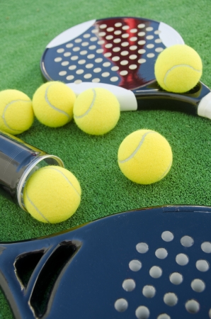 Paddle tennis rackets and balls Stock Photo