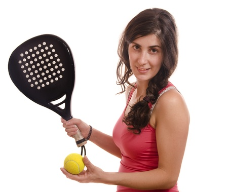 Paddle tennis posing girl photo