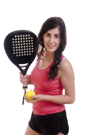 Paddle tennis posing player, feminine