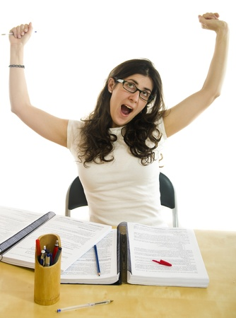 syllabus: Student yawn, isolated girl with text notebooks. Stock Photo