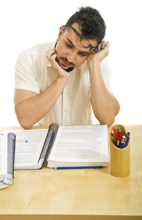 in somnolence: Stressed man stuying Stock Photo