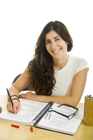 syllabus: Smiling attractive brunette student girl
