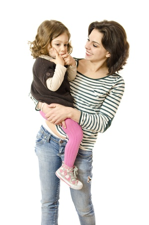 Isolated mother and daughter photo