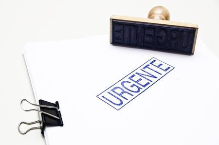 tampon: Urgente  spanish urgent word with tampon ink