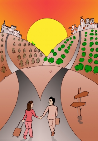 separation: The couple separation  Hand draw illustration