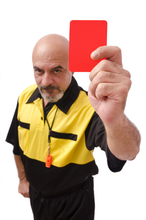 whistling: Red card Stock Photo