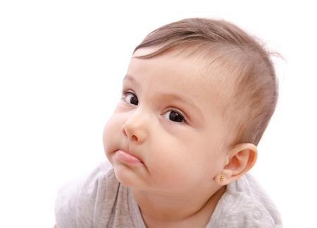crazy people: Isolierte Baby lustigen Ausdruck Blick auf die Ansicht.