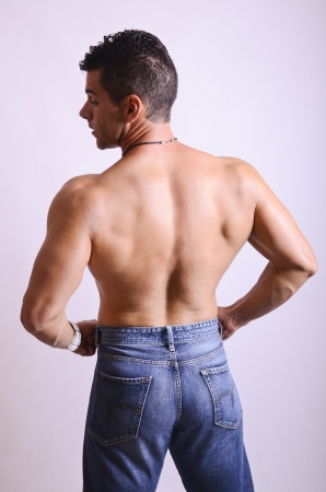 Sexy back of strong guy photo