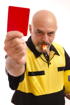 referee: Referee show red card to camera view