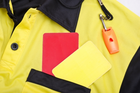 ref: Referee still life objects, whistle, shirt and cards