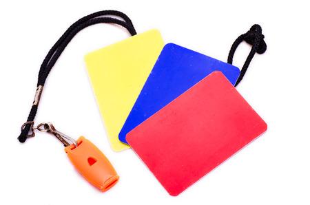 indoor soccer: Tarjetas de juego de �rbitro de f�tbol Indoor, silbato y color