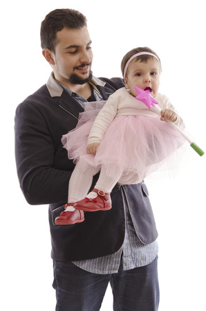 Isolated man with ballet  baby and magic wand photo
