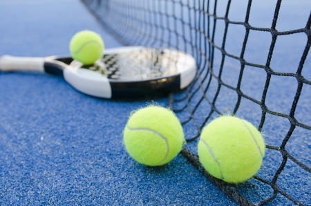 paddle tennis objects on artificial turf ready for tournament Stock Photo