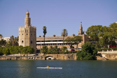 torre: Image of  torre del oro  tower in guadalquivir river in Sevilla city