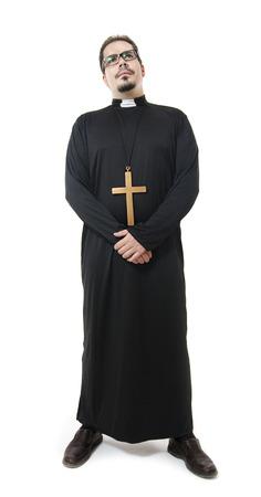 catholic priest: Full length portrait of isolated priest Stock Photo