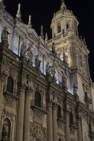 Night image of european Jaen Cathedral in Andalusia with ambient light
