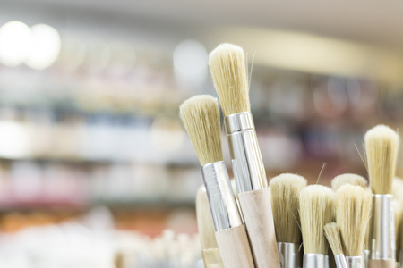 detail of brushes in store