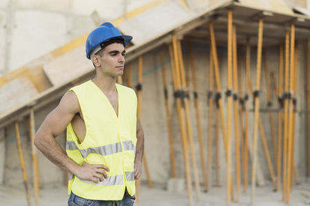 Construction worker posing in construction site