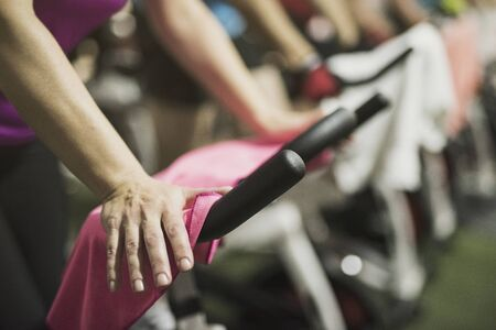 unrecognizable, training spinning in gym