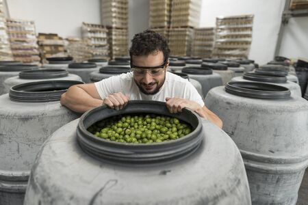 Man looking inside a fermentation barrel in olives factory