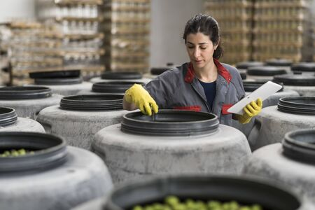 Woman with tablet in factory revise fresh olives containers quality 版權商用圖片