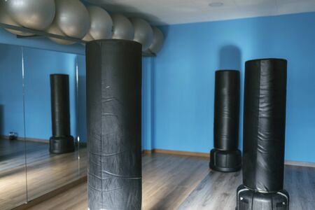 Boxing gym room ready for class, nobody. Fitness training