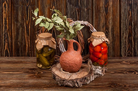 food still life on wooden background