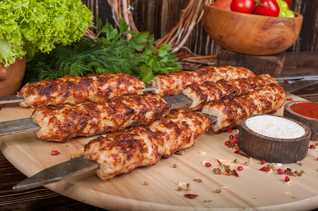 Raw barbecue shish kebabs - grilled meat