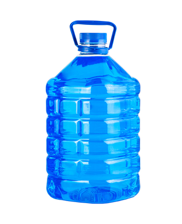 Big plastic bottle blue liquid water isolated